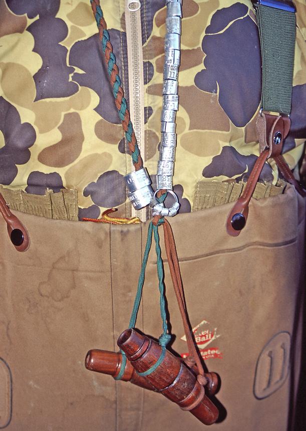 Duck hunters lanyard with duck calls and duck bands, Poor Boy Club, Humnoke, Arkansas