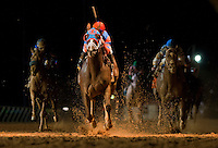 Caixa Eletronica, ridden by Javier Castellano, wins the Grade II Charles Town Classic at Charles Town Races & Slots in Ranson, West Virginia on April 14, 2012.