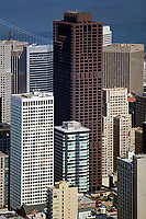aerial above Bank of America Hartford buildings San Francisco financial district