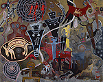 Watercolor on paper: this painting is inspired by the various rock panels of primitive pictoglyphs that I have photographed throughout the Earth, I combined the abstraction of human figures and animal form to create this multi-layered painting. The print is a photographic reproduction of the original painting.