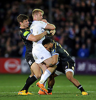 Luke Fitzgerald of Leinster Rugby is double-tackled by Ollie Devoto and Kyle Eastmond of Bath Rugby. European Rugby Champions Cup match, between Bath Rugby and Leinster Rugby on November 21, 2015 at the Recreation Ground in Bath, England. Photo by: Patrick Khachfe / Onside Images