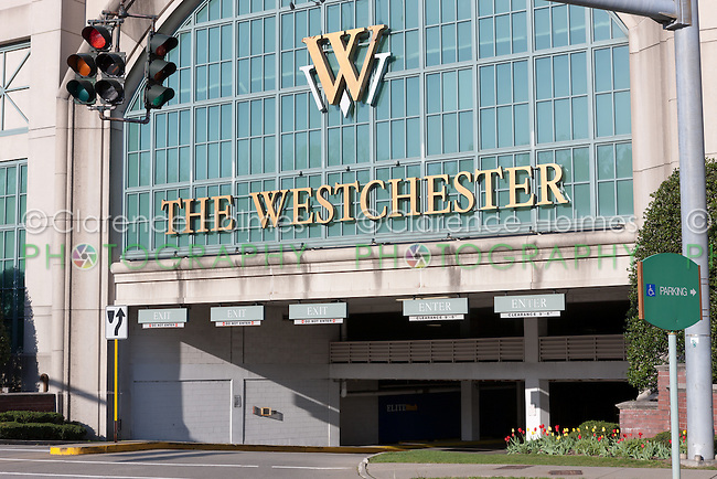 Entrance to The Westchester mall parking garage in White Plains, New York
