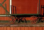 Historic train station with old time baggage cart sunrise Issaquah Washington State USA.