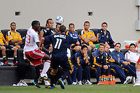 David Beckham (23) of the Los Angeles Galaxy (4th from Right) watches the cation on the field. The Los Angeles Galaxy defeated the New York Red Bulls 1-0 during a Major League Soccer (MLS) match at Red Bull Arena in Harrison, NJ, on August 14, 2010.