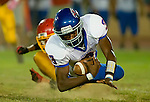 Christian Brother's High School's, Jalen Walker, #3 dives for yards after making a catch as Jesuit High School faces Christian Brothers in the Holy Bowl at Hughes Stadium, Saturday Sept. 17, 2011.Brian Baer/Special to the Bee
