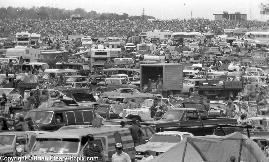 Race fans at the Winston 500 at Alabama International Motor Speedway in Talladega, AL on May 1, 1983.  (Photo by Brian Cleary/www.bcpix.com)