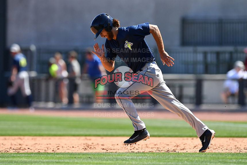Outfielder Gene Cone (9) of the Columbia Fireflies during the team's first workout of the season on Sunday, April 2, 2017, at Spirit Communications Park in Columbia, South Carolina. (Tom Priddy/Four Seam Images)