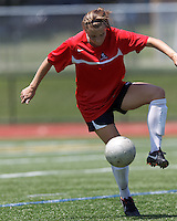 Aztec MA midfielder Kylie Strom (18) traps the ball. In a Women's Premier Soccer League (WPSL) match, Aztec MA defeated CFC Passion, 4-0, at North Reading High School Stadium on July 1, 2012.