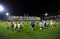 The Bath Rugby team warm up prior to the match. European Rugby Challenge Cup match, between Bath Rugby and Bristol Rugby on October 20, 2016 at the Recreation Ground in Bath, England. Photo by: Patrick Khachfe / Onside Images