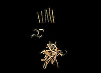 SAVEOCK WATER, CORNWALL, ENGLAND - AUGUST 03: A detail of archaeological finds on August 3, 2008 in Saveock Water, Cornwall, England. 6 brass pins with soldered separate heads, including one with a gold head, fingernail pairings and heather stalks, from the late Medieval period, were found by archaeologist Jacqui Wood in a votive pool cut into a Neolithic spring pool.  (Photo by Manuel Cohen)
