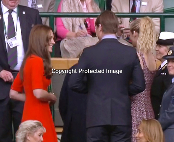 08.07.2015; Wimbledon, UK: JOSH HARTNETT AND WIFE TAMSIN EGERTON MEET KATE MIDDLETON AND PRINCE WILLIAM <br /> at a rain interrupted quarter finals tennis match between Andy Murray and Vasek Pospisil at Wimbledon.<br /> The Cambridges did not look too pleased when rain stopped play.<br /> Also in attendance were Prince Albert of Monaco, Sophie, Countess of Wessex, Josh Hartnett and wife Tamsin Egerton, Billie Jean-King, David Beckham and son Romeo<br /> Mandatory Photo Credit: &copy;NEWSPIX INTERNATIONAL<br /> <br /> **ALL FEES PAYABLE TO: &quot;NEWSPIX INTERNATIONAL&quot;**<br /> <br /> PHOTO CREDIT MANDATORY!!: NEWSPIX INTERNATIONAL(Failure to credit will incur a surcharge of 100% of reproduction fees)<br /> <br /> IMMEDIATE CONFIRMATION OF USAGE REQUIRED:<br /> Newspix International, 31 Chinnery Hill, Bishop's Stortford, ENGLAND CM23 3PS<br /> Tel:+441279 324672  ; Fax: +441279656877<br /> Mobile:  0777568 1153<br /> e-mail: info@newspixinternational.co.uk