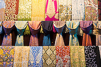Scarf designs - silk, cashmere embroidered scarves in The Grand Bazaar, Kapalicarsi, great market, Beyazi, Istanbul, Turkey
