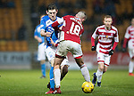 St Johnstone v Hamilton Accies&hellip;28.01.17     SPFL    McDiarmid Park<br />Blair Alston is tackled by Darian MacKinnon<br />Picture by Graeme Hart.<br />Copyright Perthshire Picture Agency<br />Tel: 01738 623350  Mobile: 07990 594431