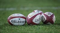 WRU rugby balls<br /> <br /> Photographer Alex Dodd/CameraSport<br /> <br /> RBS Six Nations U20 Championship Round 4 - Wales U20s v Ireland U20s - Saturday 11th March 2017 - Parc Eirias, Colwyn Bay, North Wales<br /> <br /> World Copyright &copy; 2017 CameraSport. All rights reserved. 43 Linden Ave. Countesthorpe. Leicester. England. LE8 5PG - Tel: +44 (0) 116 277 4147 - admin@camerasport.com - www.camerasport.com