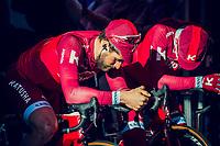 Team Katusha-Alpecin waiting in the morning light to mount the presentation podium before the race start<br /> <br /> 101th Ronde Van Vlaanderen 2017 (1.UWT)<br /> 1day race: Antwerp &rsaquo; Oudenaarde - BEL (260km)
