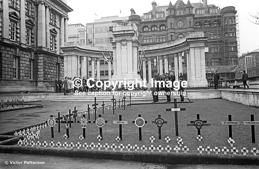 The annual Remembrance Sunday parade to the Belfast Cenotaph in the grounds of Belfast City Hall was an unintended victim of a N Ireland-wide parades ban. Wreaths were still laid but it was a very low-event compared with other years, 9th November 1969. 196911090260<br /> <br /> <br /> Copyright Image from<br /> Victor Patterson<br /> 54 Dorchester Park<br /> Belfast, N Ireland, UK, <br /> BT9 6RJ<br /> <br /> t1: +44 28 90661296<br /> t2: +44 28 90022446<br /> m: +44 7802 353836<br /> e1: victorpatterson@me.com<br /> e2: victorpatterson@gmail.com<br /> <br /> www.victorpatterson.com