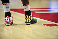 Terrapins players wear their Maryland pride basketball shoes. Maryland defeated Duke 81-83 at the Comcast Center in College Park, MD on Saturday, February 16, 2013. Alan P. Santos/DC Sports Box
