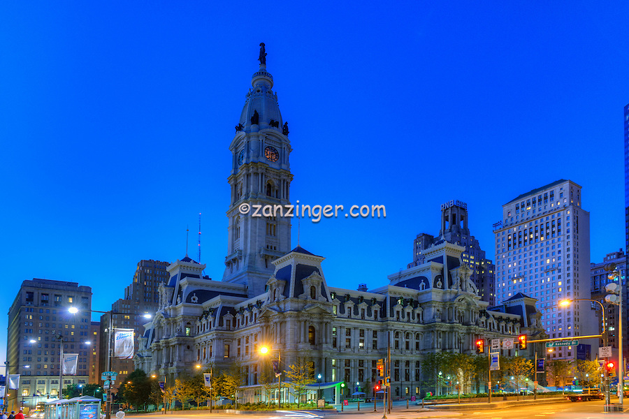 Downtown, Urban, Architecture, Building, Cityscape, City Hall, , Skyline, Philadelphia, PA
