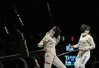 European Championships Fencing 2010 / Fecht Europameisterschaft 2010 in Leipzig - Competition Championat d'europe - im Bild: womens epee team finale - Poland : Italy - Magdalena Piekarska (POL, left) gets the last point for Poland and makes the team the new European Champion - Nathalie Moellhausen (ITA, right)    . Foto: Norman Rembarz..Norman Rembarz , Autorennummer 41043728 , Augustenstr. 2, 04317 Leipzig, Tel.: 01794887569, Hypovereinsbank: BLZ: 86020086, KN: 357889472, St.Nr.: 231/261/06432 - Jegliche kommerzielle Nutzung ist honorar- und mehrwertsteuerpflichtig! Persönlichkeitsrechte sind zu wahren. Es wird keine Haftung übernommen bei Verletzung von Rechten Dritter. Autoren-Nennung gem. §13 UrhGes. wird verlangt. Weitergabe an Dritte nur nach  vorheriger Absprache..