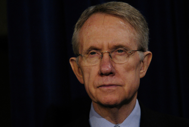 "Senate Minority Leader Harry Reid, D-Nv., at press conference to unveil a special Senate Democratic Rural Report Card on the President's budget and how it ""fails rural America."""