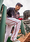 22 July 2016: Washington Nationals outfielder Ben Revere emerges from the dugout to take the field prior to the start of play against the San Diego Padres at Nationals Park in Washington, DC. The Padres defeated the Nationals 5-3 to take the first game of their 3-game, weekend series. Mandatory Credit: Ed Wolfstein Photo *** RAW (NEF) Image File Available ***