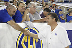 Head Coach of UK mens basketball team John Calipari greets fans during the first half of UK's home game against Auburn, Oct. 9, 2010. Photo by Brandon Goodwin| Staff