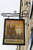 Pub sign, Bath, UK, October 19, 2007. The city of Bath is famed for it's hot springs (the only in the UK) and it's Georgian architecture. The city is a UNESCO World Heritage Site.
