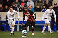 Maryland Terrapins midfielder Mikias Eticha (11). The Notre Dame Fighting Irish defeated the Maryland Terrapins 2-1 during the championship match of the division 1 2013 NCAA  Men's Soccer College Cup at PPL Park in Chester, PA, on December 15, 2013.