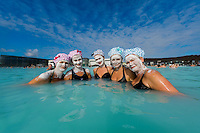 Norwegian women in shower caps having a girls weekend at the Blue Lagoon in Reykjavik, Iceland. Hurtigruten cruise.