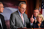 Senate Democratic Conference Vice Chairman CHUCK SCHUMER (D-NY) during a news conference on Capitol Hill Thursday where they talked about the House's failure to act on Senate-passed legislation in this Congress.