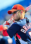 7 March 2010: Washington Nationals' infielder Eric Bruntlett awaits his turn in the batting cage prior to a Spring Training game against the New York Mets at Tradition Field in Port St. Lucie, Florida. The Mets edged out the Nationals 6-5 in Grapefruit League pre-season play. Mandatory Credit: Ed Wolfstein Photo