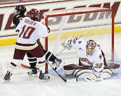 Jessica Hoyle (Brown - 21), Blake Bolden (BC - 10), Kiera Kingston (BC - 32) - The Boston College Eagles defeated the visiting Brown University Bears 5-2 on Sunday, October 24, 2010, at Conte Forum in Chestnut Hill, Massachusetts.