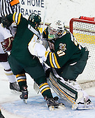 Nick Bruneteau (UVM - 4), Brody Hoffman (UVM - 37) - The Boston College Eagles defeated the University of Vermont Catamounts 4-1 on Friday, February 1, 2013, at Kelley Rink in Conte Forum in Chestnut Hill, Massachusetts.