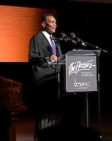 New York City, NY. October 20, 2014. Arthur Mitchell addresses audience after accepting the Bessies 2014 Lifetime Achivement Award. Photo by Marco Aurelio/VIEWpress