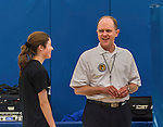 26 October 2014: Professional Association of Volleyball Officials Referee John Dandrow talks with Yeshiva University Maccabee co-Captain Shana Wolfstein (left), a Senior from Burlington,VT, prior to a game against the College of Mount Saint Vincent Dolphins, in Riverdale, NY. The Dolphins defeated the Maccabees 3-0 in the NCAA Division III Women's Volleyball Skyline matchup. Mandatory Credit: Ed Wolfstein Photo *** RAW (NEF) Image File Available ***