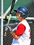 30 June 2012: Lowell Spinners' infielder Mike Miller awaits his turn in the batting cage prior to a game against the Vermont Lake Monsters at Centennial Field in Burlington, Vermont. Mandatory Credit: Ed Wolfstein Photo