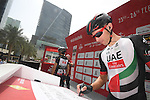 Rui Costa (POR) UAE Abu Dhabi team at sign on before the start of Stage 2 the Nation Towers Stage of the 2017 Abu Dhabi Tour, running 153km around the city of Abu Dhabi, Abu Dhabi. 24th February 2017<br /> Picture: ANSA/Claudio Peri | Newsfile<br /> <br /> <br /> All photos usage must carry mandatory copyright credit (&copy; Newsfile | ANSA)