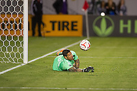 CARSON, CA - March 8, 2014: Real Salt Lake goalkeeper Nick Rimando (18) makes a save during the LA Galaxy vs Real Salt Lake match at the StubHub Center in Carson, California. Final score, LA Galaxy 0, Real Salt Lake  1.