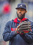 4 April 2014: Atlanta Braves right fielder Jason Heyward warms up prior to the Washington Nationals Home Opening Game at Nationals Park in Washington, DC. The Braves edged out the Nationals 2-1 in their first meeting of the 2014 MLB season. Mandatory Credit: Ed Wolfstein Photo *** RAW (NEF) Image File Available ***