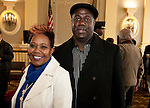 WATERBURY, CT-021517JS10---Carolyn Highsmith of Waterbury and Peter Thigpen of Hartford, at the African American Mayor for the Day celebration at Waterbury City Hall. <br /> Jim Shannon Republican-American