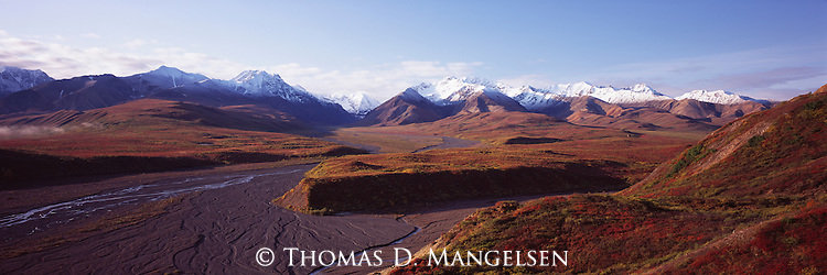 A river bed below mountains in Denali National Park, Alaska.