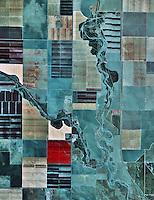 color infrared aerial photograph Fresno county near Coalinga, California