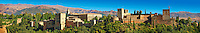 Panoramic view of the Moorish Islmaic Alhambra Palace comples and fortifications. Granada, Andalusia, Spain.