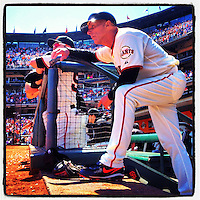SAN FRANCISCO, CA - AUGUST 2: Instagram of third base coach Tim Flannery of the San Francisco Giants getting ready to take the field in the 7th inning during the game against the New York Mets at AT&T Park on August 2, 2012 in San Francisco, California. Photo by Brad Mangin