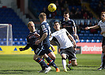 Ross County v St Johnstone&hellip;..30.04.16  Global Energy Stadium, Dingwall<br />Graham Cummins is closed down by Andrew Davies and Jonathan Franks<br />Picture by Graeme Hart.<br />Copyright Perthshire Picture Agency<br />Tel: 01738 623350  Mobile: 07990 594431