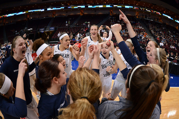 March 7, 2014; Las Vegas, NV, USA; Brigham Young Cougars team huddles against the Pepperdine Waves before the game of the WCC Basketball Championships at Orleans Arena.