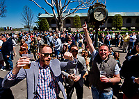 LEXINGTON, KENTUCKY - APRIL 08: Fans celebrate picking the winner of a race on Bluegrass Stakes Day at Keeneland Race Course on April 8, 2017 in Lexington, Kentucky. (Photo by Scott Serio/Eclipse Sportswire/Getty Images)