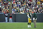 Green Bay Packers' Brett Favre and head coach Mike McCarthy during a timeout in the 4th quarter. . The Green Bay Packers hosted the Carolina Panthers at Lambeau Field Sunday November 18, 2007. Steve Apps-State Journal.