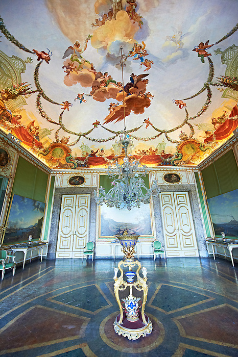 The Room of Spring - Frescoed by Sicilian painter Antonio de Dominici with an allegory of spring .The Kings of Naples Royal Palace of Caserta, Italy. A UNESCO World Heritage Site