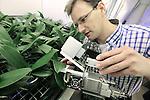 Foto: VidiPhoto<br /> <br /> BUNNIK - De laboratorium-opstelling van Plant Lighting BV in Bunnik, waar op dit moment onderzoek wordt gedaan naar de invloed van licht op de groei van orchidee&euml;n (phalaenopsis).